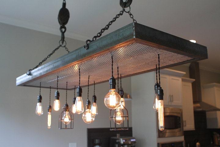 Metal light fixture with edison bulb pendants custom metal light fixture with edison bulb pendants mozeypictures Choice Image