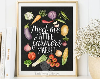 printable garden plants watercolor art decoration botanical food art Meet me at the farmers market print kitchen wall art decor poster  3-59
