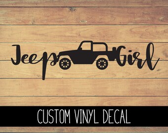Jeep Girl Vinyl Decal, Yeti Decal, Jeep Decal, Vinyl Car Decal, Laptop Decal, Window Decal, Jeep Custom Decal, Custom Decal, Gift Under 10