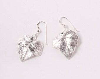 Silver Ivy Leaf Earrings. Real Ivy leaves dipped in pure silver. Silver Leaf Earrings. Natural Ivy Leaf Earrings. Fashion Jewellery Earrings