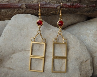 Geometric shapes earrings. Red swarovski earrings. Mothers day Gifts. Gemstone jewelry for wife. Simple everyday hanging square earrings.