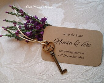 Save the Date card. Your Presence is Key. Rustic Style. Wedding.