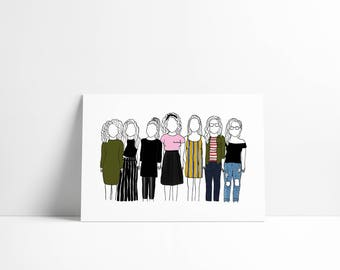 Illustrated portrait-2 to 6 persons