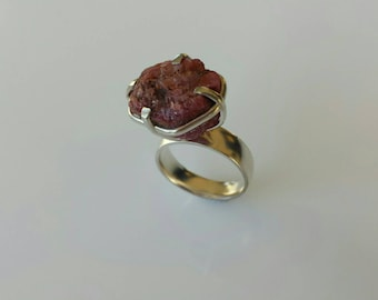 Raw red ruby silver women ring size 8 us/ 18,3 eu