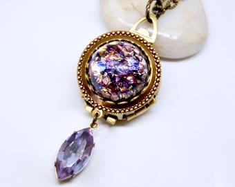 Amethyst Locket, 4 Photo Locket Necklace, 4 Picture Locket, Amethyst Necklace, Purple Locket, Four Way Locket, February Birthstone Jewelry