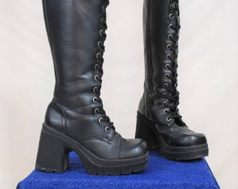 Size 6, 90s Platform Lace Up Knee Boots | Vintage Black Grunge Chunky Heel Boots