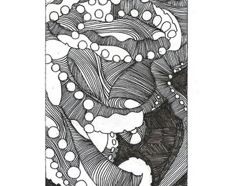 "Octopus Drawing - Together Alonetopus  - Fine Art Giclee Print of 4""x6"" Black and White Drawing"
