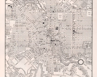 Old map of baltimore Etsy