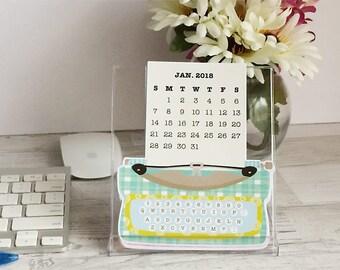 2018 Desk Calendar with Case/Stand - Vintage Typewriter - Desk Calendar - A5 Planner Calendar die cut