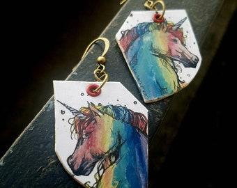 Rainbow Unicorn - hand-painted whimsical Pride earrings