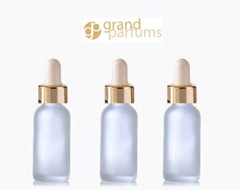 24 FROSTED 30ml Glass Bottles w/ Metallic Gold Glass Dropper Pipette 1 Oz UPSCALE LUXURY Cosmetic Skincare Packaging, Serum Essential Oil