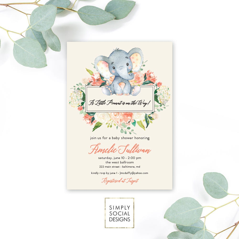 Peach Floral Elephant Baby Shower Invitation - It\'s a Girl ...