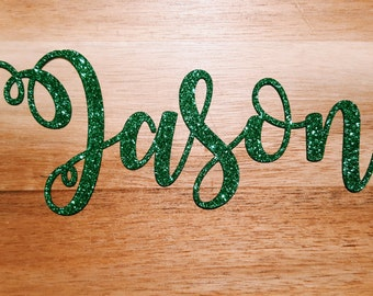 Personalised Glitter Christmas Place Names or Gift Tags | Gold, Silver, Red, Green | Perfect for Festive Events & Dinner Table Settings