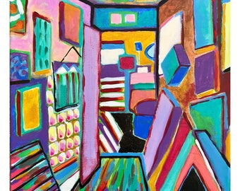 """Room 01: original acrylic painting on stretched canvas 12""""x12"""" red orange yellow green blue purple modern art"""