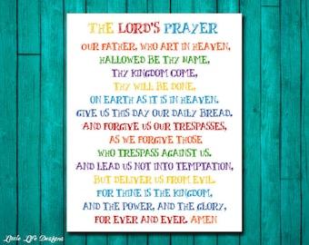 The Lord's Prayer. Sunday School Decor. Christian Wall Art. Bible Verse. Scripture. Christian Kids Decor. Sunday School Art. Matthew 6:9-13