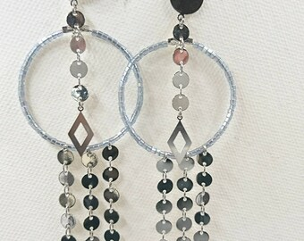 "Long earrings collection ""geometrical trilogy, color silver ice"