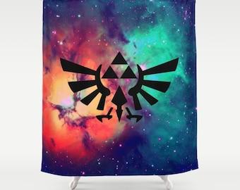 Zelda Shower Curtain, Triforce Shower Curtain, Triforce On Bright Star Shower  Curtain, Hylian