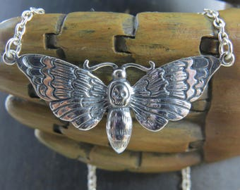 Sterling silver death's head moth necklace,  Death's-Head Hawkmoth, deaths head hawk moth, halloween jewelry, gothic necklace