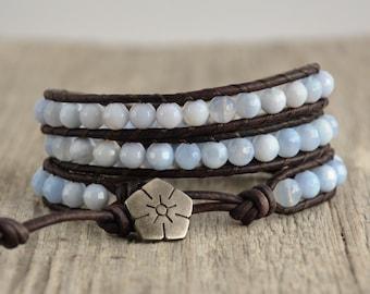 Leather wrap bracelet. Bohemian chic beaded jewelry. Light blue bracelet