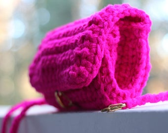 Hot Pink Crochet Clutch with Detachable straps