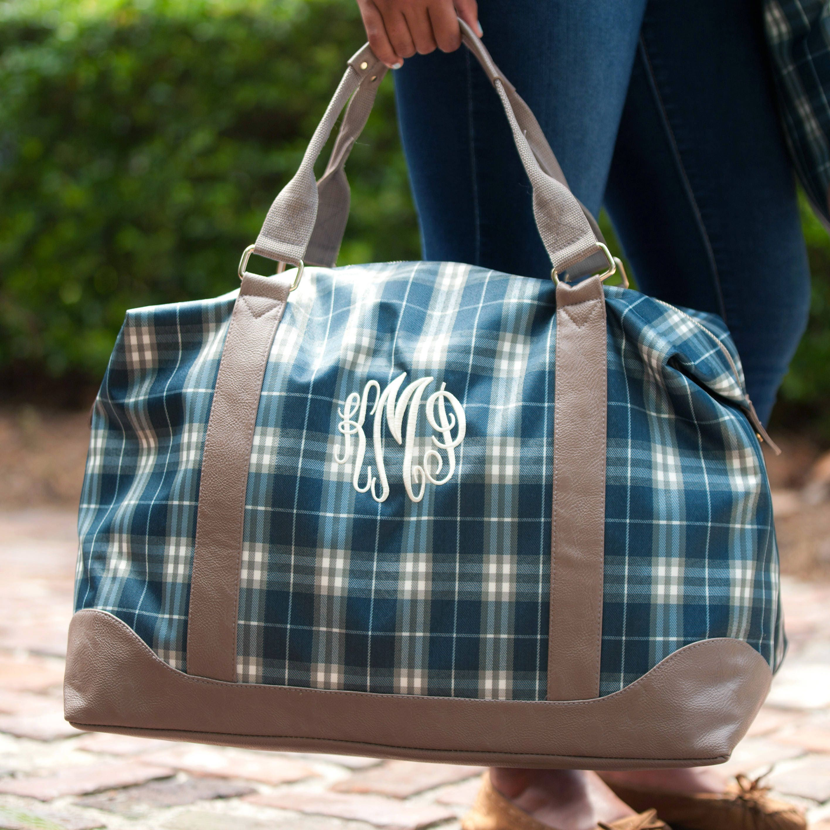 37d81f9a39 Monogrammed Weekend Bag Plaid Middleton Luggage Tote Bag Overnight Duffle  Duffel