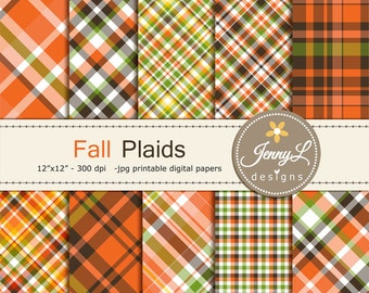 Fall Autumn Plaids Digital Papers, Holiday Digital ScrapbookingPaper, Orange, Brown Green