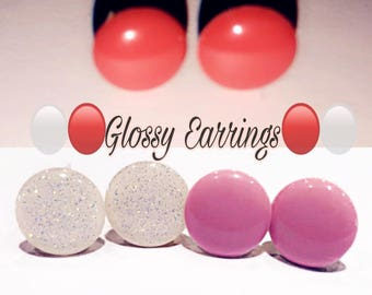 Glossy round earrings