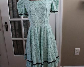 1950's Green Polka Dot Dress