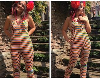 Rainbow striped halter neck catsuit / bodysuit - fairylove
