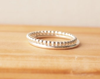 Stacking Ring Set -  in Silver - Set of Two - Plain Band set - Sterling Silver Rings - Bubble Band - Ring Duo -