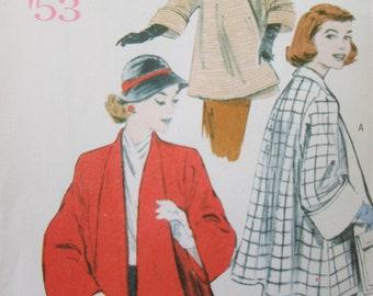Butterick 5716 Sewing Pattern, 1950s Design Swing Coat Pattern, Retro 1953 Coat Design, Bust 29.5 to 36, 2011 Sewing Pattern, Swing Jacket