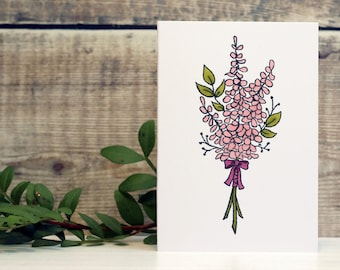 """Floral/Flower/Posy Notecards, set of 3, one each of 3 colours (pink, dark pink and dark blue), size A7 3""""x4"""""""