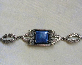 Antique Art Deco Sterling Marcasite and Sodalite Bracelet, Vintage Sterling Art Deco Bracelet, Old Sterling Marcasite Bracelet (#3369)