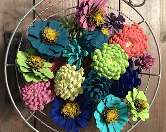 Zinnia Pinecone Flower Bowl Filler, Pine Cone Basket Fillers, Painted Pinecones, Spring Summer Bright Colorful Flowers Daisy Dahlias Zinnias