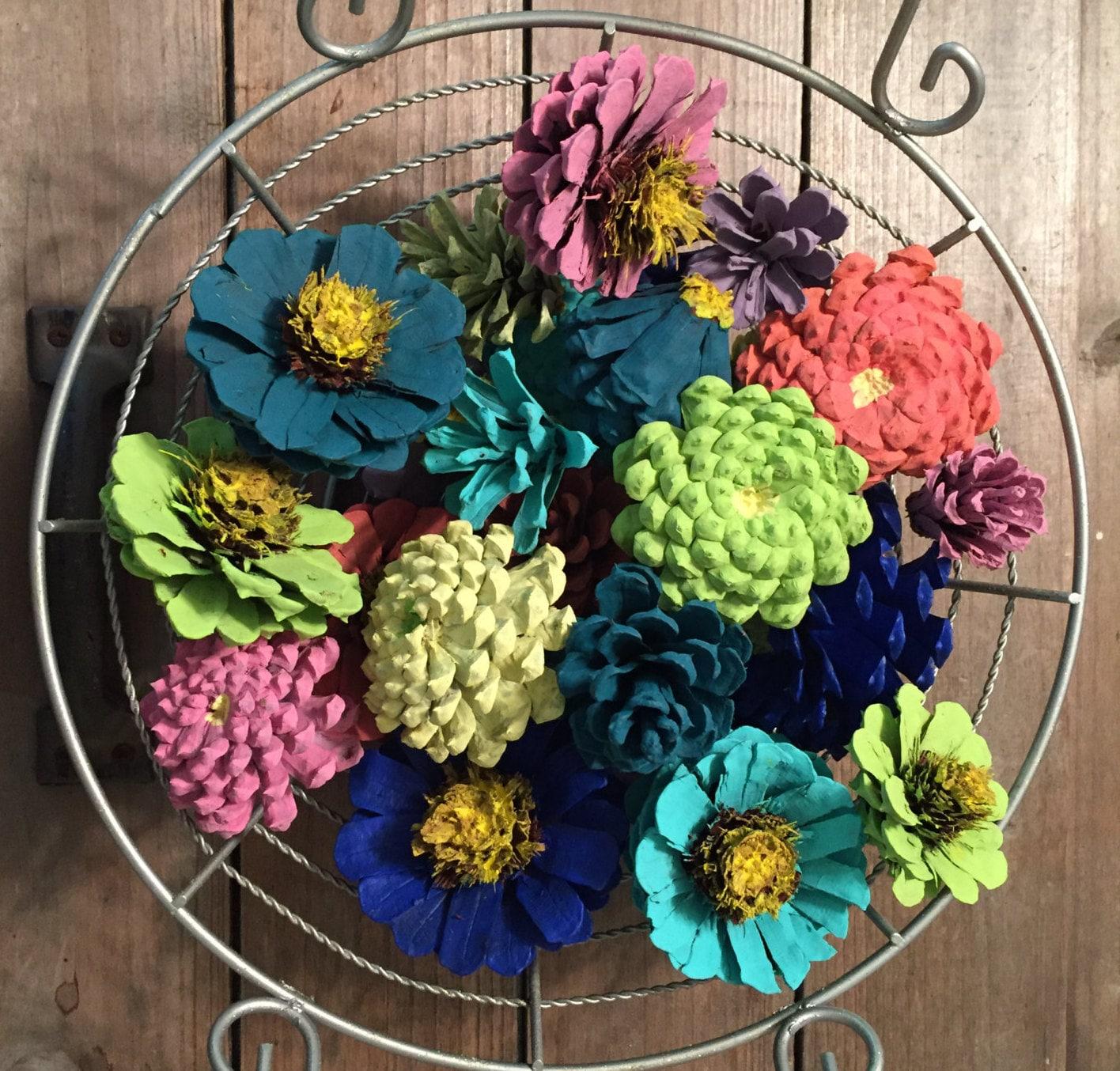 Zinnia Pinecone Wreath