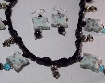 "Semi Precious Stone Jewelry, Dangle Necklace, Sesame Jasper Necklace, Turquoise & Black, 19"" Necklace, Dangle Earring,Unique, OOAK,Free Gift"