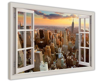 "New York City Photos 3D Window Bay View Framed Prints Canvas Pictures Wall Art Decoration Artwork City Prints Size: 30"" X 20"" (76CM X 50CM)"