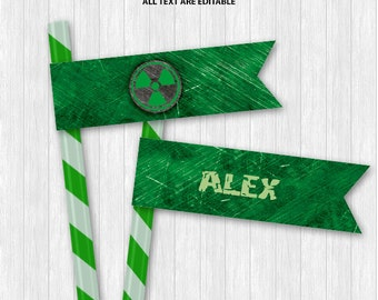 Hulk Straw Flags