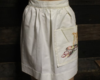 Vintage Hand Embroidered Apron, Holiday Apron