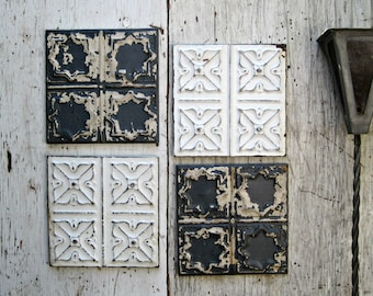 Tin Ceiling Tiles. Set of 4 framed and refinished. Old paint Farmhouse Rustic Industrial decor.  Architectural salvage. Old metal tiles