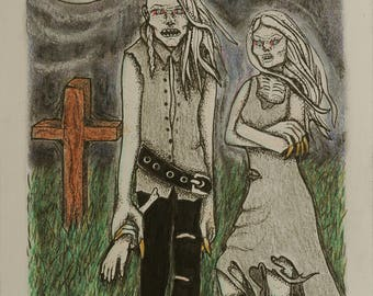 Original illustration _ A Ghoul Night _ zombie couple drawing moonlight walk _ cemetery graveyard goth punk art gothic 80s 90s metal style
