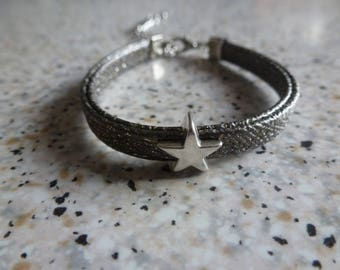 Star bracelet - Faux leather Brown Taupe