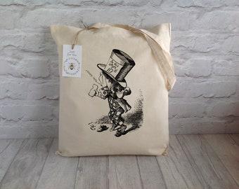 Tote Bag / Mad Hatter Tote Bag / Alice In Wonderland / Shopping Bag / Grocery Bag / Eco Bag / Book Lover bag / Mother's day Gift
