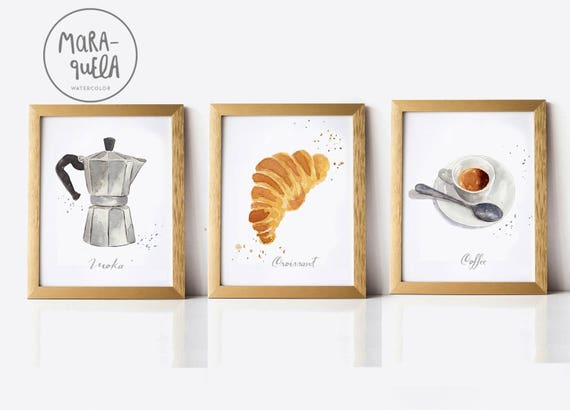 DISCOUNT BREAKFAST SET, coffee, croissant and moka pot. Kitchen decor