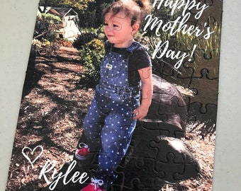 Photo Puzzle with TEXT - custom photo puzzle - custom picture puzzle - your photo on a jigsaw puzzle - personal puzzle, Mother's Day gift