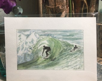 Watercolor Surfing Greeting Card