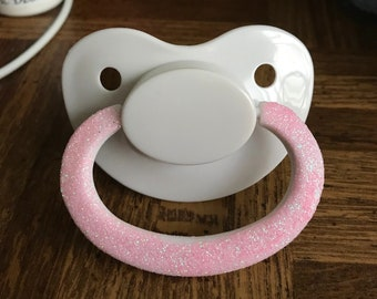 Adult Pacifier W/ Rose Glitter Handle - ABDL - little space, Daddy Dom, Mommy Domme, Age Play, Age Regression
