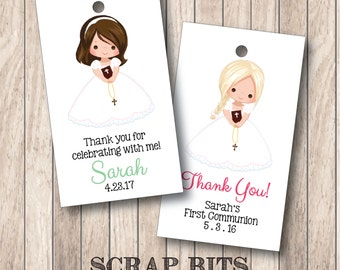 Girl Communion Thank You Favor Tags . Communion Tags (Qty. 10)