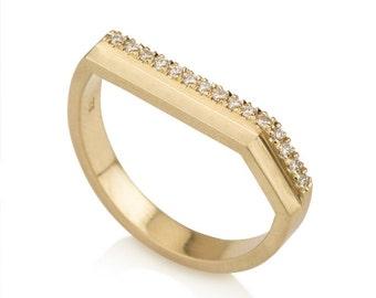 Caroline ring, delicate diamond ring, yellow gold diamond ring, minimalist diamond ring, modern diamond engagement ring, unique wedding band