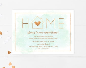 Housewarming Invitation, New Home, Housewarming Party Invitation, Gold Foil, Our New Home, Moving Announcement, Housewarming Invitations 750